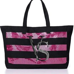 VICTORIA'S SECRET BLING SEQUIN LARGE TOTE BAG  NEW